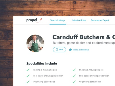Propel Listing Article Page structure local welcoming friendly colour style neat ui clean
