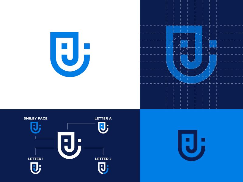 Personal Identity monogram logo monogram minimalist logo blue smiley face personal logo personal branding logomark logo logo design brand identity personal identity personal brand