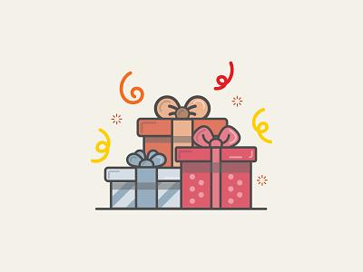 Birthday Presents gift present birthday design flat illustration