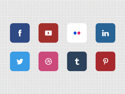 Social Icons social icons facebook youtube flickr linkedin twitter dribbble tumblr pintrest