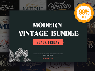 Modern Vintage Bundle 99% OFF lettering artist typeface font fonts collection black friday free font fonts free fonts vintage retro lettering logo lettering