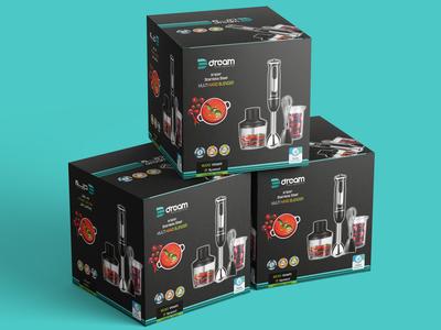Free Hand Blender Packaging Design Mockup