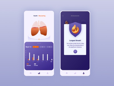 Quit Coach App concept appdesigner appdesign blue orange statistics illustration figma userexperience user ux uidesigner uidesigns uiux uidesign quiz quit quitsmoking smoking lungs