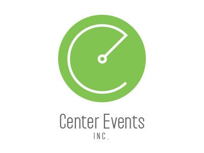 Center Events Inc. logo design branding logo icon events marketing green
