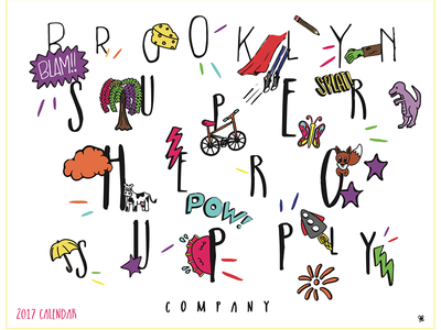 Brooklyn Superhero Supply Co. Calendar lettering typography color fun kids illustration calendar print design