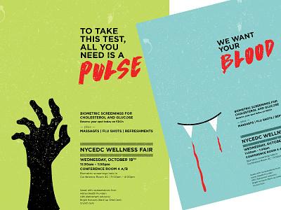 Halloween / Wellness Fair Posters copywriting health illustration halloween poster print design