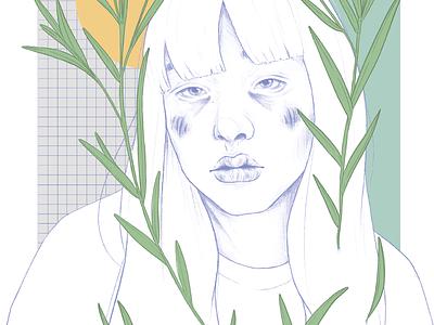 I'm sorry portraits graphic design design grid girl botanic illustrator illustration