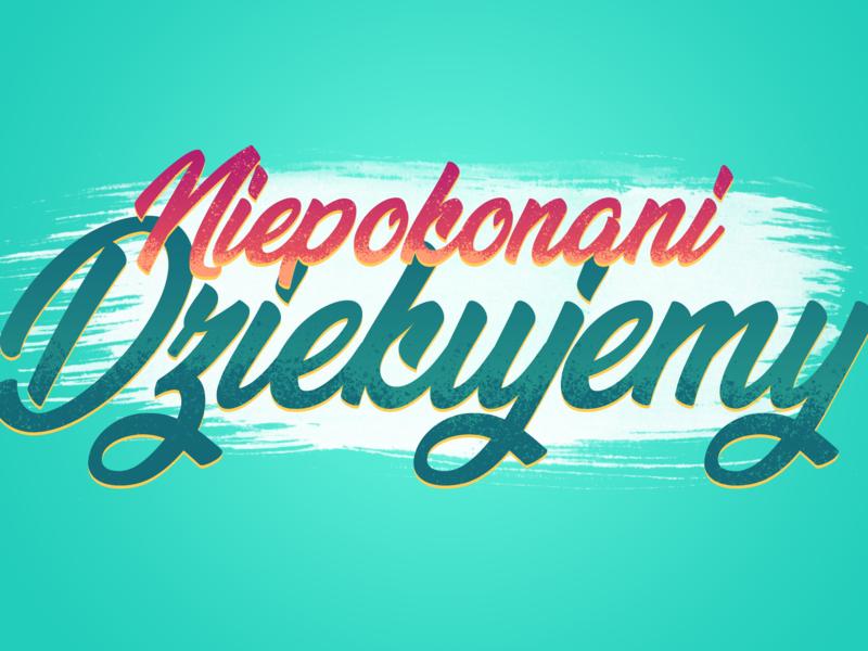 Niepokonani calligraphy text design vector illustration