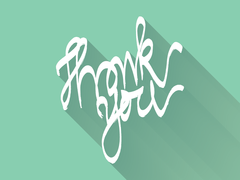 Thank you - Hand lettering handwriting lettering flat longshadow long shadow thank you thanks note poste