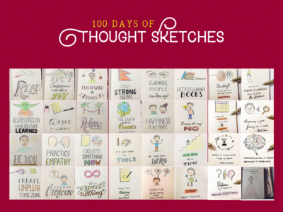 100 Days of Thought Sketches pencil thought sketches handlettering handmade lettering sketchnote the100dayproject