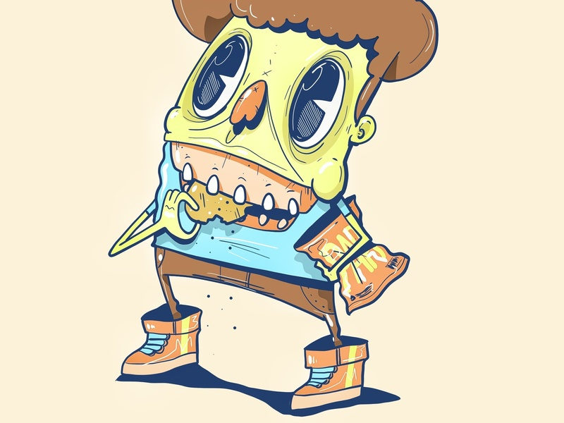 Eating papitas retro character design design sketching illustration drawing design trends animation