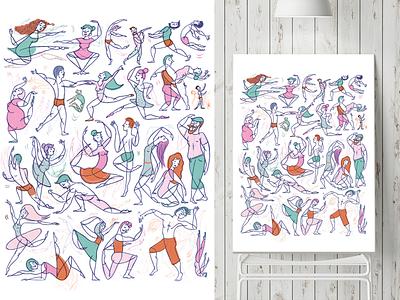 Dancing Troup bodies body love digital dancing dance ilustracion illustration