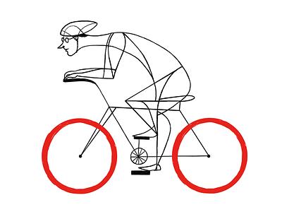 Red bycicle man bycicle digital childrens illustration love ilustracion illustration