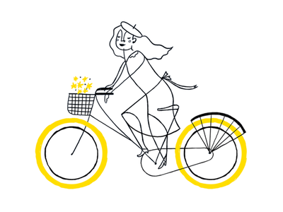 Yellow bycicle bycicle yellow woman childrens illustration digital love ilustracion illustration