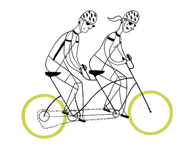 Friends in a bycicle tandem bike bycicle men childrens book children book illustration woman childrens illustration digital love ilustracion illustration