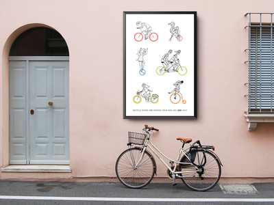 Bycicle poster street bycicle men woman childrens book children book illustration childrens illustration love ilustracion illustration