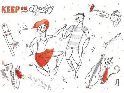 Keep on dancing men woman dance childrens book children book illustration childrens illustration analogue love ilustracion illustration