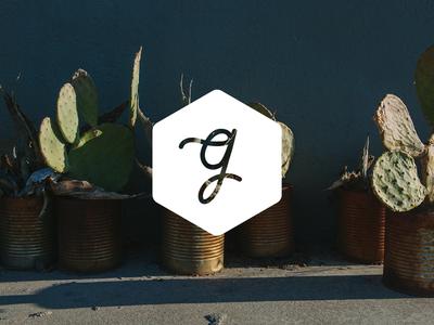 Blog branding WIP branding lettering hand lettering g cursive script blog initial swash identity monoline mark