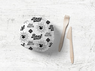 Beef N' Bread Sandwich Paper identity system logo packaging illustration pattern restaurant branding