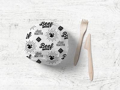 Beef N' Bread Sandwich Paper identity system logo packaging illustration pattern restaurant branding