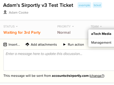 Sirportly v3 - Ticket view with menu & tags