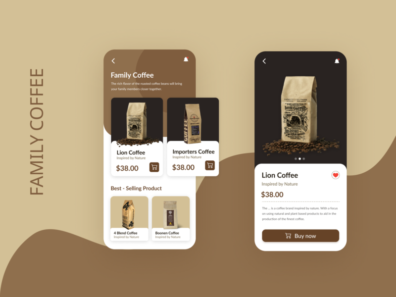 Family Coffee branding app ux design ui minimal