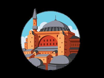 Hagia Sophia assets landscape city landmark utsmani istanbul turki mosque hagiasophia middleeast ui branding design islamic vector illustration