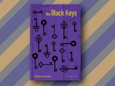 Black Keys Poster skeleton key purple  gold concert poster poster design illustrator vector