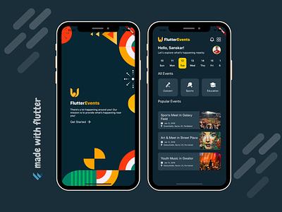 Flutter Events App UI Design dribble ui flutter app development company app app developer app designer app ui app design