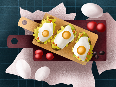 Breakfast omelette sandwiches procreate ipad pro ipad bruschetta morning happy tomatoes eggs food meal design art breakfast