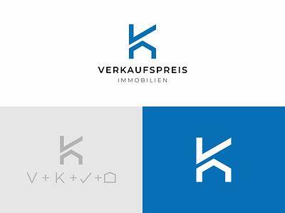 Verkaufspreis Immobilien - VK Logo branding logo sale home sale real estate german verkaufspreis immobilien vk