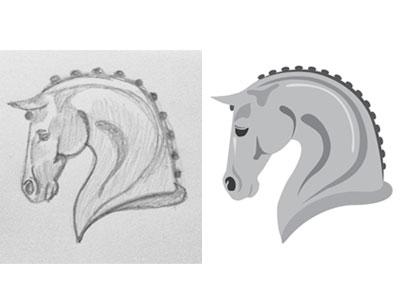 Sketch digital horse head