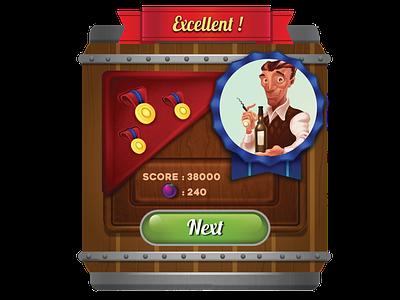 Win Screen wine match-3 games ui art mobile games ui screen
