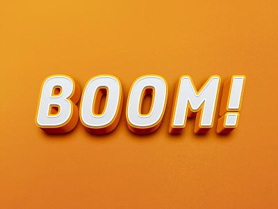 3D Text text logo logo effects lattering boom colors creative text orange vector adobephotoshop branding illustration gradient 3d text effect 3d art 3d design minimal art logodesign creative  design