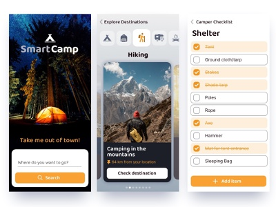 Camping App Concept design nature hiking adventure outdoors camping hobbies ux mobile concept ui