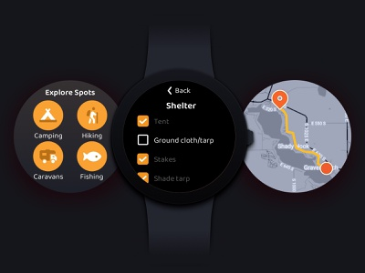 Camping Wearable App concept ui ux mobile wearable adventure hiking hobbies camping