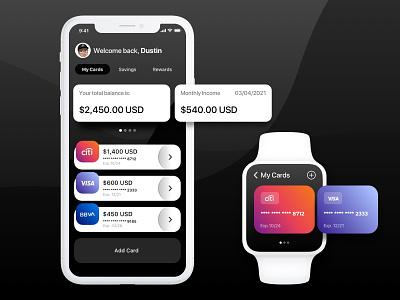 Mobile Wallet Concept concept ui card banking fintech watch mobile wallet