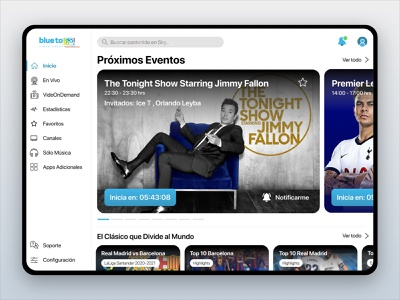 Blue to Go app Redesign ipad tablet redesign concept ux ui sports tv streaming app