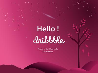 Hello Dribbble hello dribbble hellodribbble pink dribbble drawing design illustration