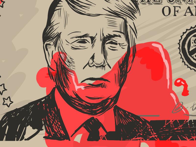 Blood Money flyer design desk illustration