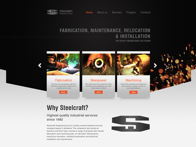 Steelcraft Website landing page php dynamic sparks steelcraft engineering website
