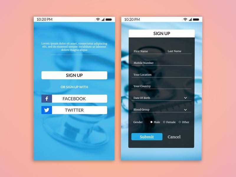 Sign Up Interface for Hospital welcome screen register form sign up form mobile app ux ui hospital app log in signup sign in design app