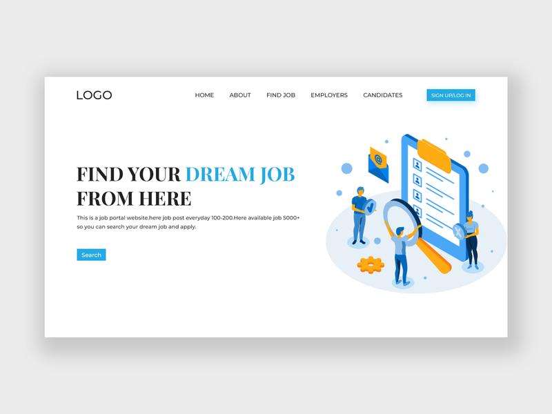 Job Portal clean design typography find job career designers hire homepage ux ui website design landing page job portal job search job website