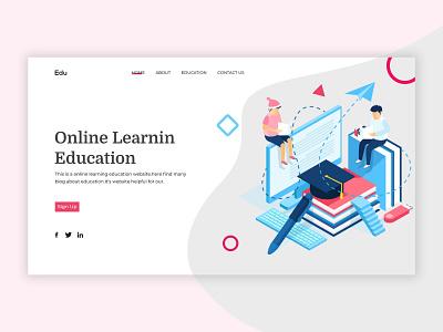 online education header online education web branding typogaphy website illustraion education landing page header design landing page ui ux education