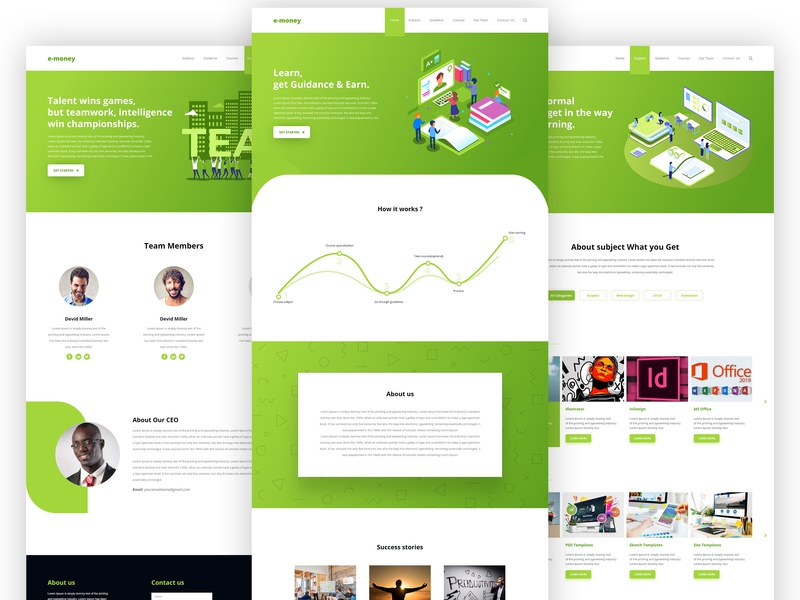 Freelancing Guideline Landing Page home page clean ui trendy design interface studio illustration corporate colorful gradient learning website freelancing guideline it solution online solution minimal ux ui branding agency website landing page