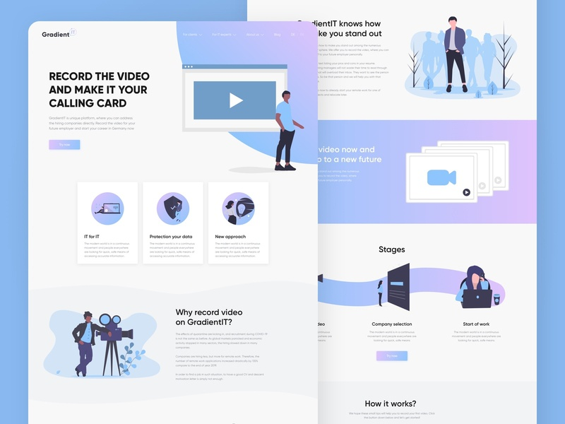 GradientIT website landing product website illustration flat web ux ui minimal design