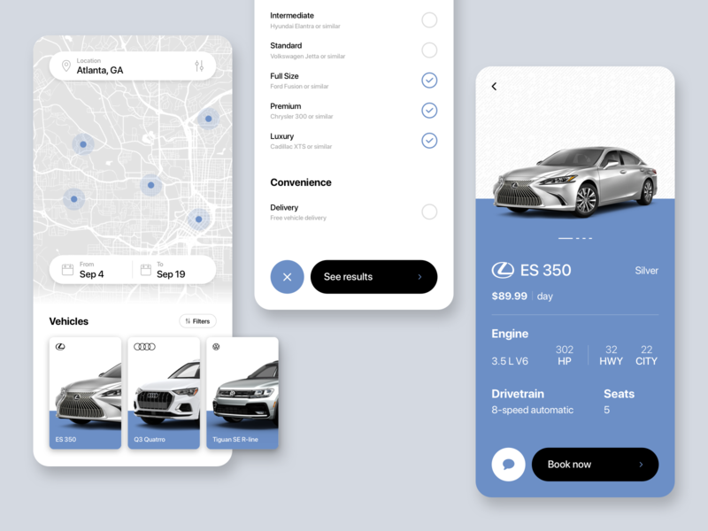Rent a car cars vehicles filters locations map ui luxury booking car rental rentals automotive app simple clean