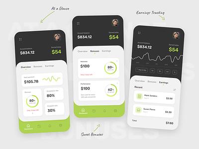 Bonuses profile balance simple clean finances earnings app bonus chart