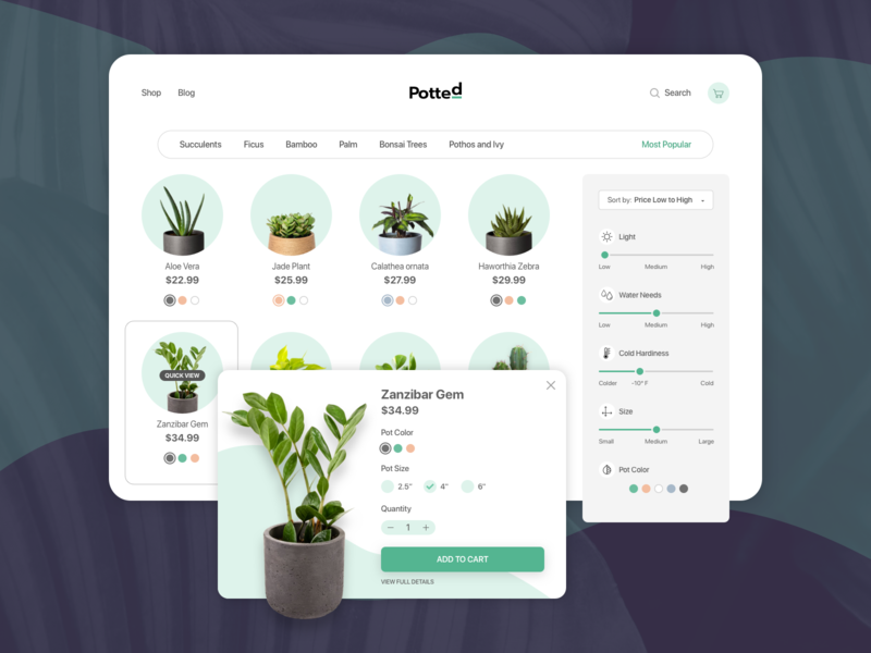 Potted - Category Page succulents sliders quick view modal tablet customization filters plants checkout products ecommerce potted plants potted simple clean