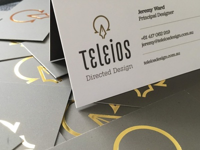 Teleios Design Business Card gold foil pen omega alpha icon business card stationery logo branding